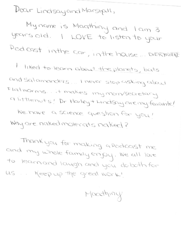 Maathiny's letter to Tumble